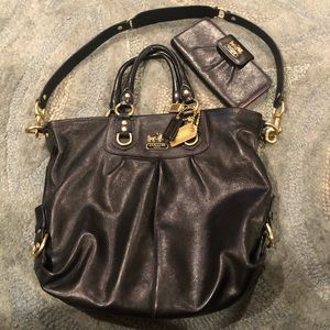 Like new black Coach satchel style bag and wallet